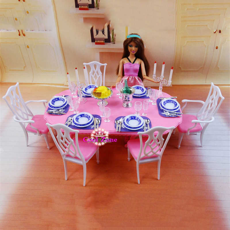 Miniature Furniture My Fancy Life Dining Room 2 For Barbie Doll House Toys For Girl Free Shipping Toys For 8 Year Olds Toy Scarftoy Gel Aliexpress