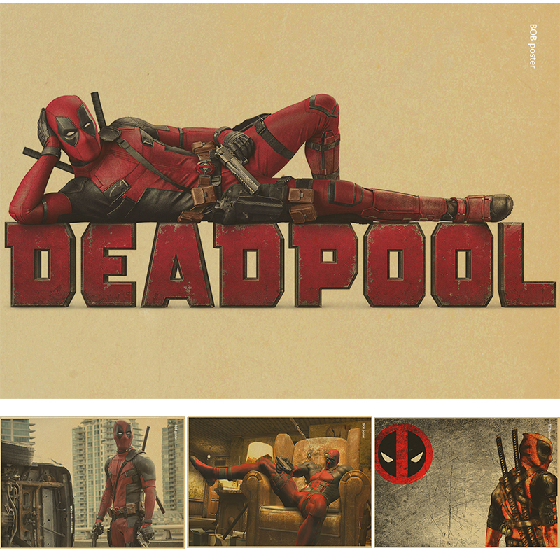 Vintage poster marvel deadpool poster wall stickers for - Posters gigantes para pared ...