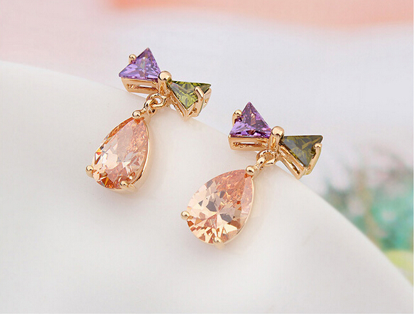 New Arrival Latest Styles Flowers Earrings Colorful Summer Gold Earring Tops Designs For S