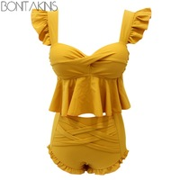 Bonitakinis Ruffled Two Piece Swimsuit Yellow Sweet Bathing Suits Small Chest Push Up Swimwear Japanese Style Lolita Beachwear