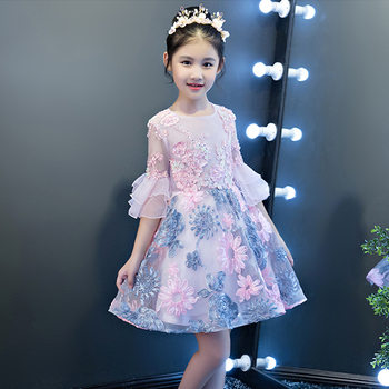 Flower girl dresses kid infant toddler girl clothing pink ball gown prom dress wedding party sweet princess mini tutu dress YY64