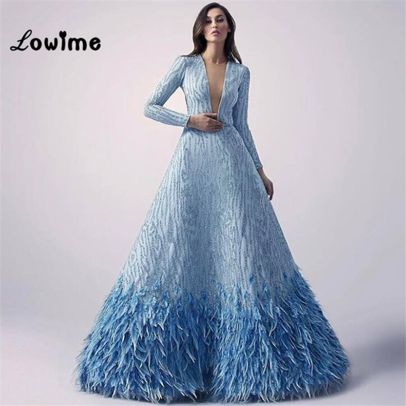 Sexy Long Sleeved Great Gatsby Baby Blue Feather Formal ...