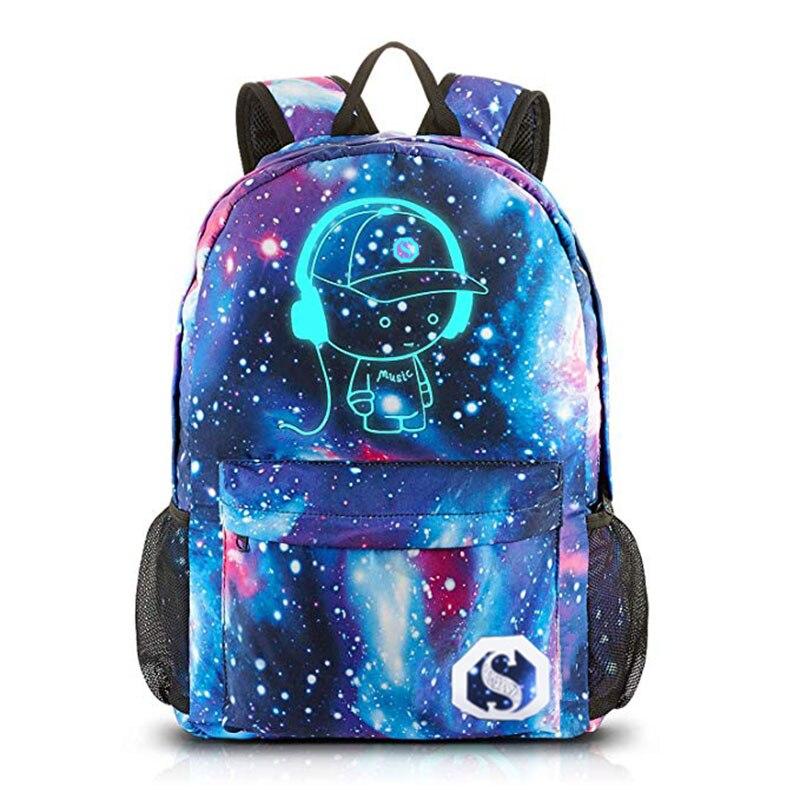 New School Backpack Bookbag Cool Luminous School Bag Unisex Galaxy Laptop Bag for Boys Girls