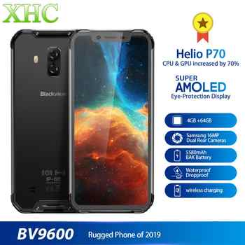 Original Blackview BV9600 Android Mobile Phone 6.21inch MT6771T Octa Core 4GB 64GB Wireless Charging Dual SIM NFC OTG Smartphone - DISCOUNT ITEM  0% OFF All Category
