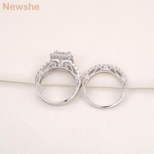 Image 3 - Newshe 2 Pcs Wedding Ring Set Classic Jewelry 2.8 Ct Princess Cut AAA CZ 925 Sterling Silver Engagement Rings For Women JR4887