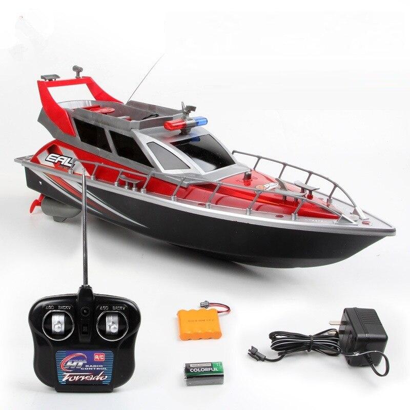 Modèle d'eau enfants jouet HT-2875F 1/20 4CH électrique RC police hors-bord modèle bateau jouets luxueux dirigeable bateau de course pour les enfants
