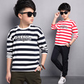 Spring New Arrival Baby Boy T-shirt Classic Stripe Pattern Kid Pullover Hoddies Children Cotton O-neck Long Sleeve Tops Clothes