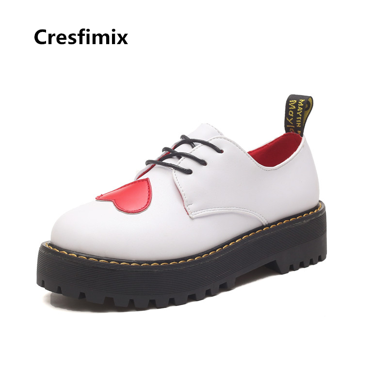 Cresfimix zapatos de mujer women casual high quality pu leather platform shoes with heart lady cute round toe lace up shoes cresfimix zapatos de mujer women casual plus size retro flat shoes lady leisure spring