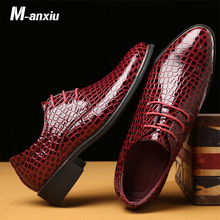 M-anxiu Personality Crocodile pattern Business Men's Flat shoes 2019 New Brand Big Size 38-48 Men Wedding Party Dress Shoes