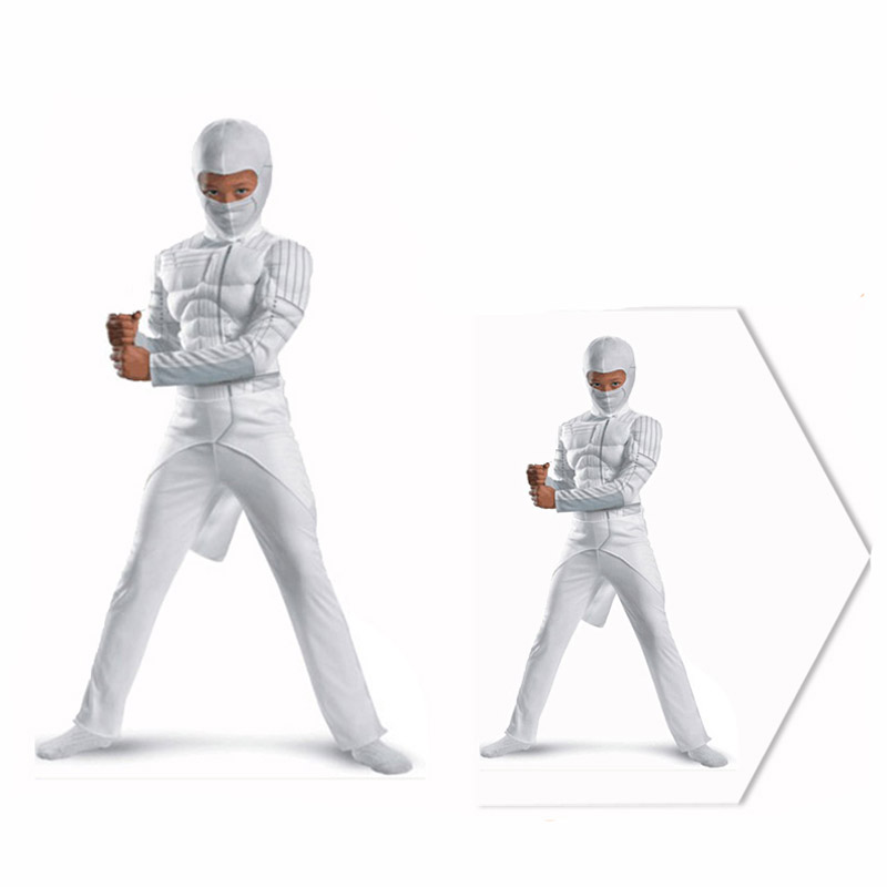 The Avengers G I Joe The Rise Of Cobra kid muscle white Ninja costume halloween party cosplay clothes with mask