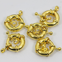 Fashion Gold/New Spring Ring Clasps Wholesale 100pcs/lot 15MM Jewelry Clasps Fit 1-3 Holes Jewelry Free Shipping JC016