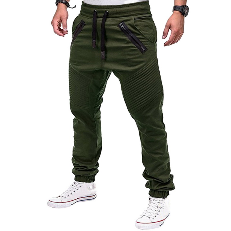 Heflashor Drawstring Pants Trousers Joggers Autumn Brand Men's Multi-Pocket 3XL Solid