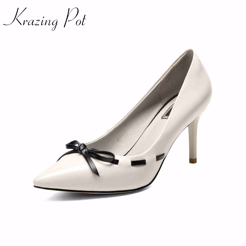 Krazing Pot 2018 cow leather brand shoes high heels women pumps pointed toe shallow party wedding women shoes model shoes L4 krazing pot 2018 cow leather simple design breathable high heels hollow women pumps round toe brown white color brand shoes l92