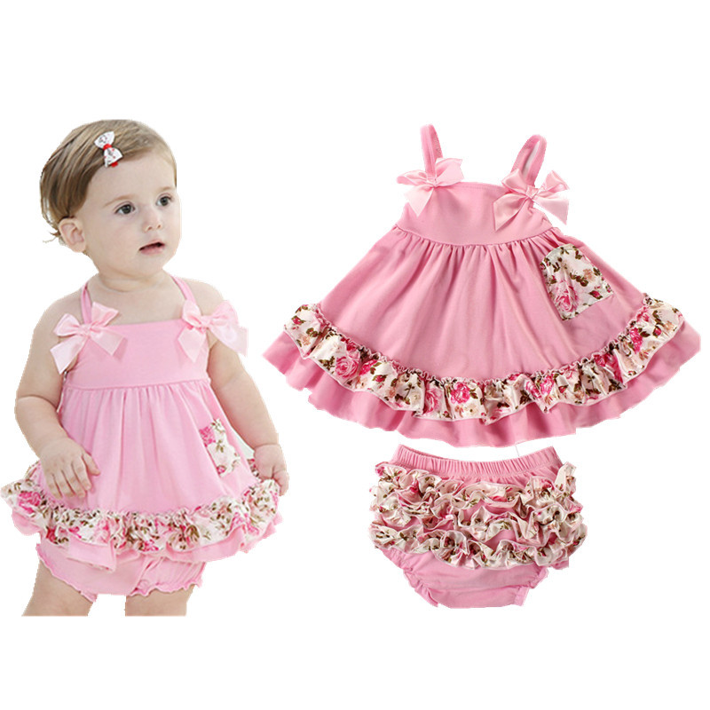 Summer European Style Brand Baby Girl Dress Newborn Baby Girl Sling Bat Shirt With Ruffle Bloomers Short Swing Clothing Set D-01 pink floral towels