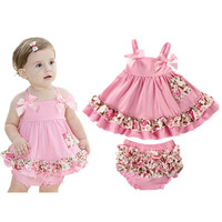 Summer European Style Brand Baby Girl Dress Newborn Baby Girl Sling Bat Shirt With Ruffle Bloomers