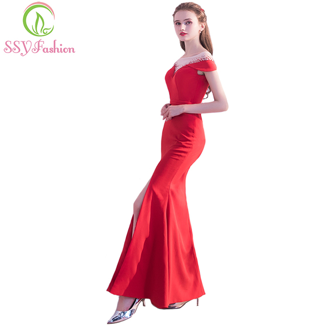 SSYFashion New Banquet Sexy Mermaid Long Prom Dress The Bride Red Satin  High-split Fishtail Formal Party Gown Robe De Soiree 7f43fcffe20c