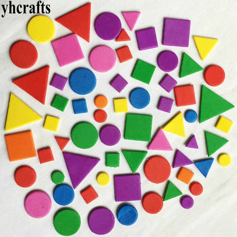 1bag(15-250PCS)/LOT,Mixed Shape Foam Stickers Irregular Geometric Figure Foam Puzzle Early Educational Toy Kindergarten Crafts