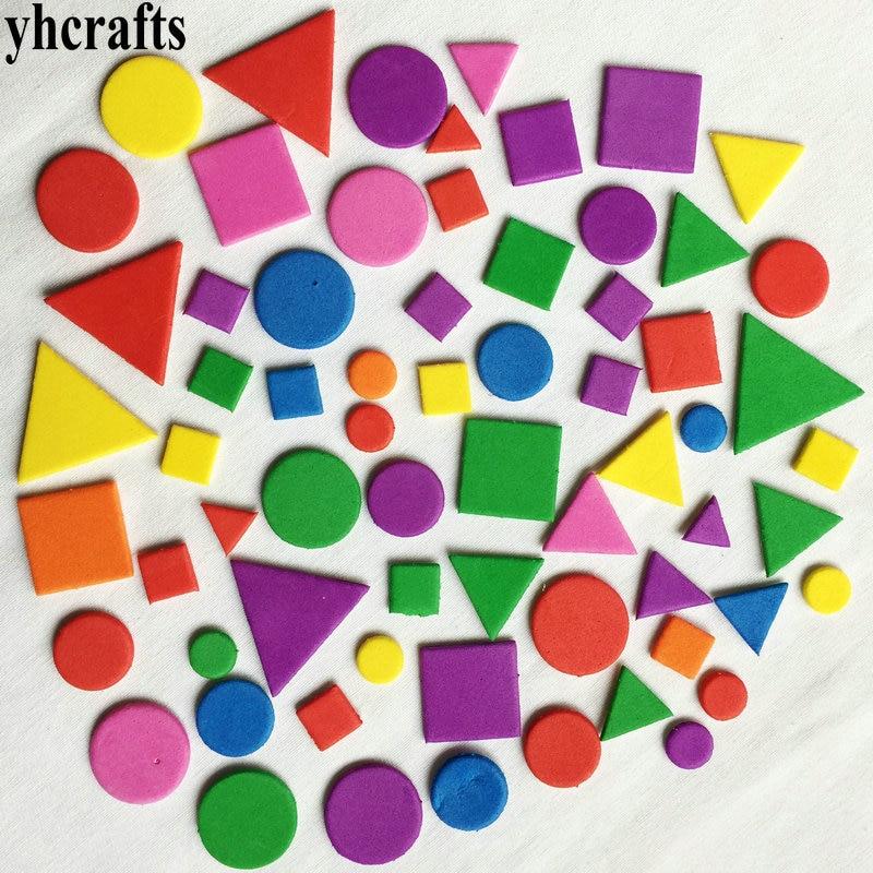 1bag(15-250PCS)/LOT,Mixed Shape Foam Stickers Irregular Geometric Figure Foam Puzzle Early Educational Toy Kindergarten Crafts
