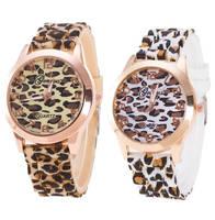 Высокое качество модные унисекс Женева Leopard силиконовые желе, гель Аналоговые кварцевые наручные часы Нержавеющая сталь случае