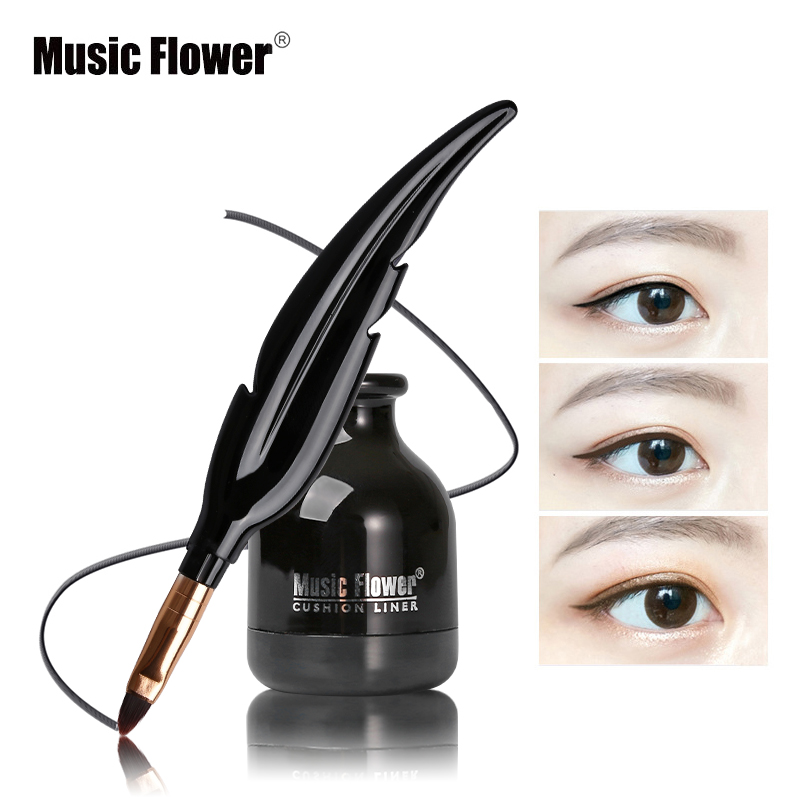 Brand Music Flower Eyes Make Up Cushion Eyeliner Waterproof Long Lasting Eye Liner Pencil Black Quick-drying Eyelid Natural