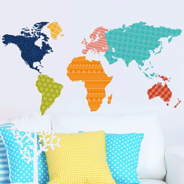 Home wall decoration painted colored world map of the five ...