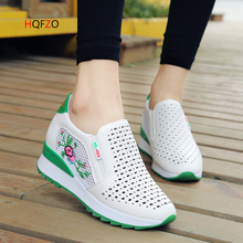 HQFZO Casual High Heels Loafers Breathable Vulcanize  Women Sneakers PU Round Toe Embroider Platform Wedge Tenis Feminino