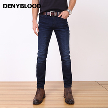 Denyblood Jeans 2017 Spring Autum Classic Style Stretch Navy Blue Denim Slim Straight Pants High Quality Bussiness Casual 7312