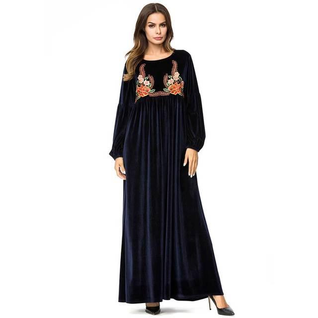 c4b8b6a568271 US $27.48 44% OFF|2019 Brief Casual velvet muslim abaya winter Maxi Dress  Embroidery robe Urban Soft islamic dubai kaftan arabic Clothing VKDR1414-in  ...