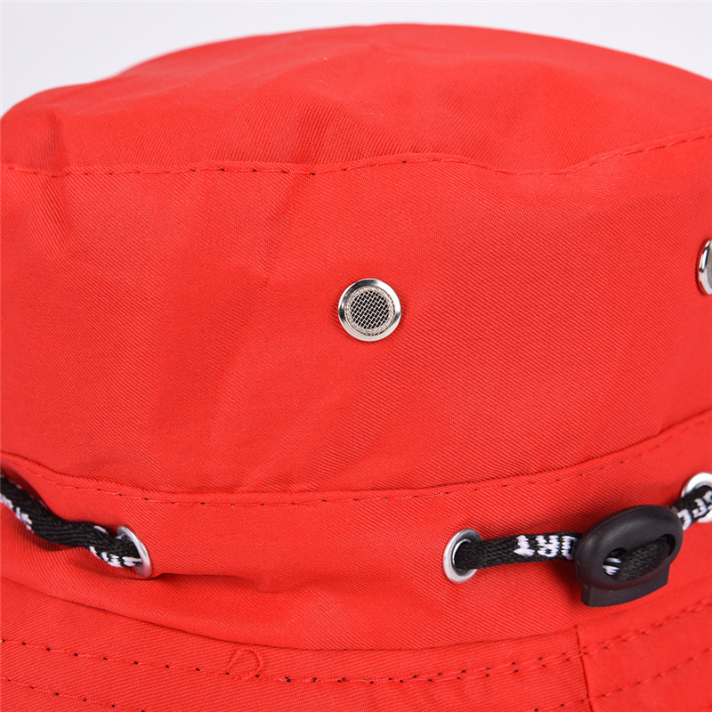 FemaleMale Unisex FishermanCap Black Red Flat Cotton Bucket Hat Spring Summer Sun Hat Travel WomenHat  ForMen Women Size:56-58cm