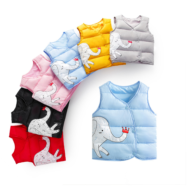 Baby Clothes Autumn Winter Boys Girls Cartoon Vest Jacket Kid Cotton Waistcoat Children Outerwear Coat