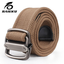 Baieku Молодых мужчин холст пояса Личность 2-кольцо agio пояса Модные широкие пояса дизайнер ремни мужчин высокого качества