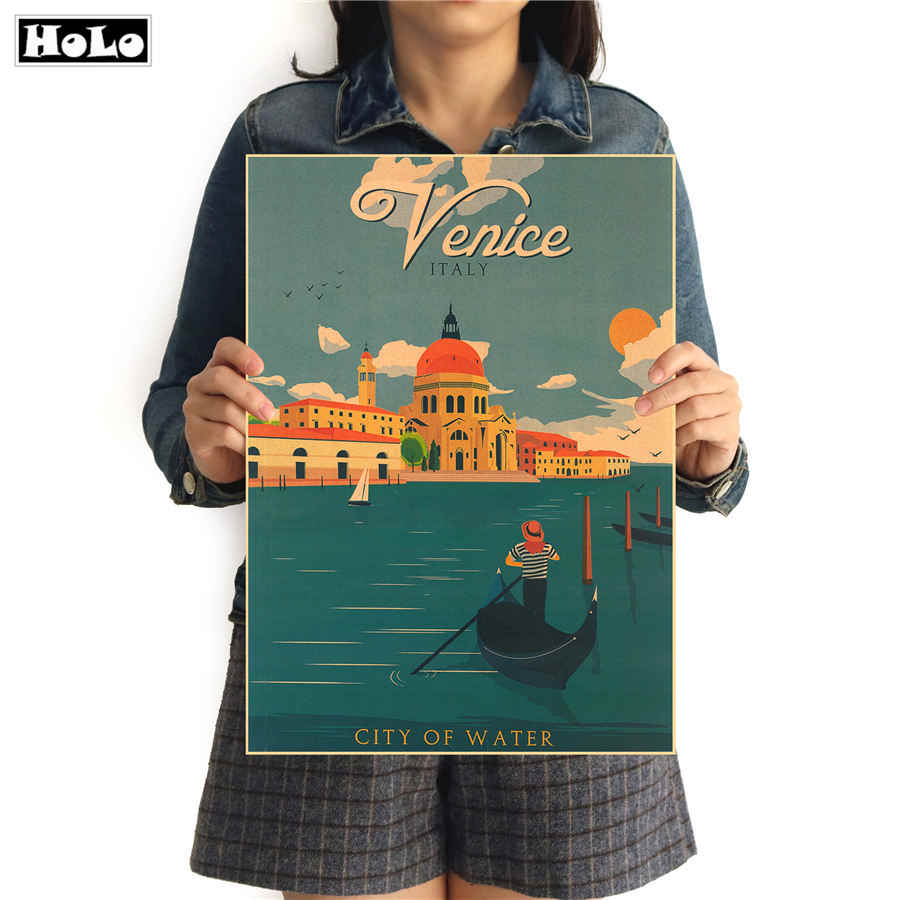 Venice City Travel Vintage Kraft Paper Poster Movie Drawing Retro Wall Sticker Paint Core Living Room Home Decor 42*30 Cm