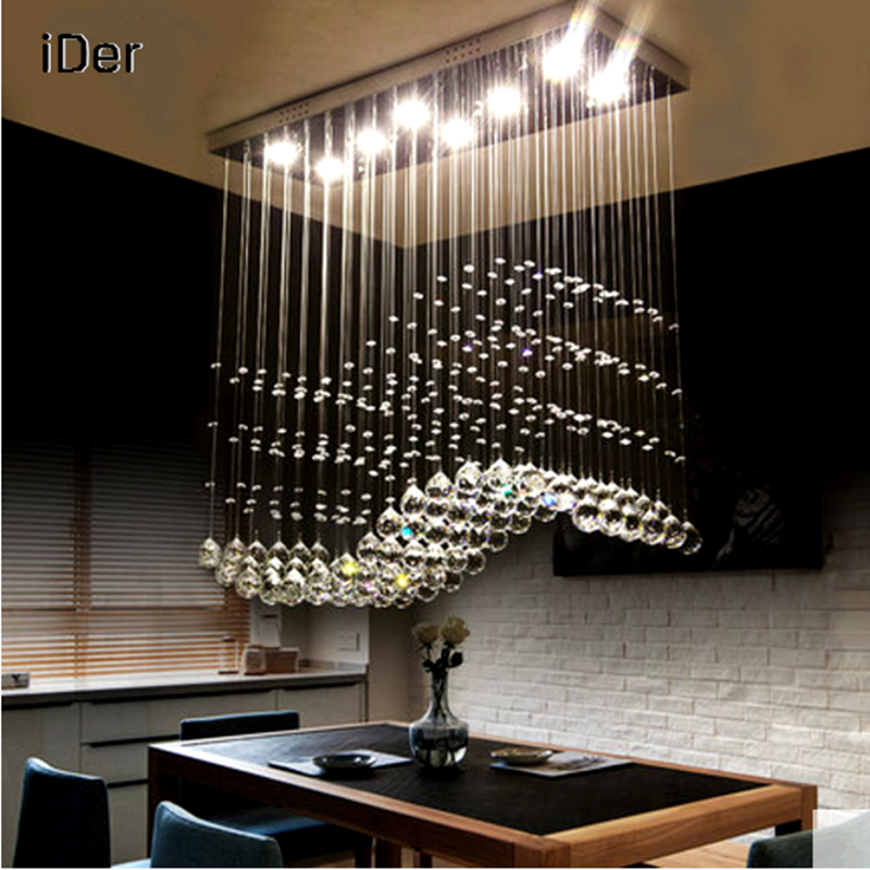 Led rectangle restaurant lights chandelier three crystal lamp creative personality modern simple bar decorated chandelier