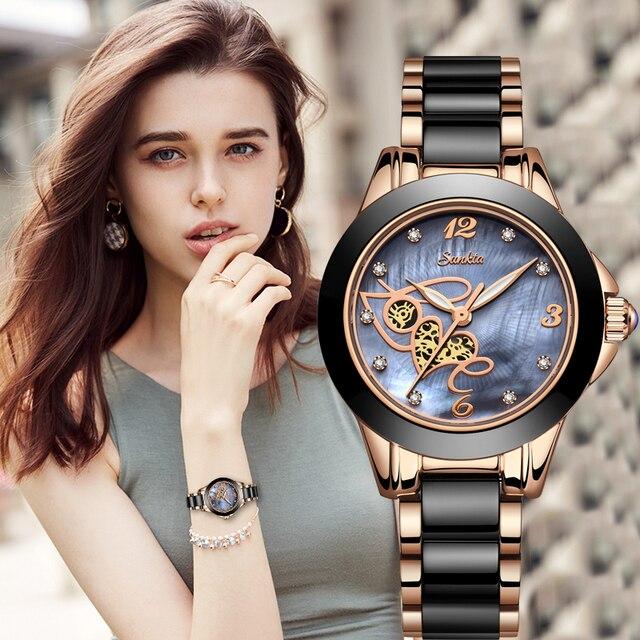 SUNKTA أعلى جودة السيدات حجر الراين ساعة فاخرة ارتفع الذهب الأسود السيراميك مقاوم للماء ساعات امرأة الكلاسيكية سلسلة السيدات ساعة