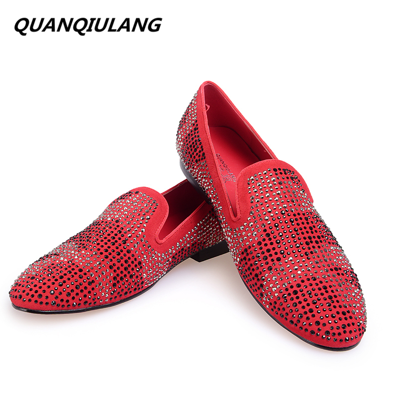 2016 New Brand Designer Red Bottoms man shoes Diamond Genuine Leather Fashion Men Casual flat shoes