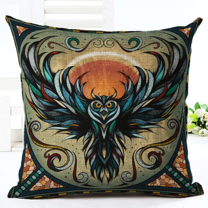 Wild Animal Cotton Linen Cushion Cover Watercolor Pillowcase Chair Seat And Waist Square Pillow Cover 45x45cm Home Livin