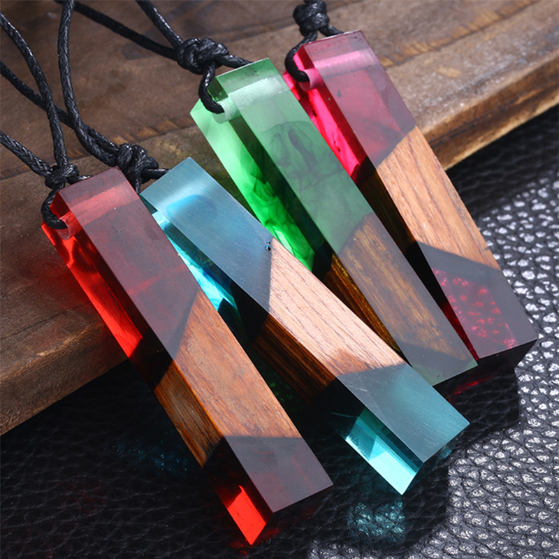 Fashion Long Necklaces 2018 New 100% Handmade Wood Resin Statement Necklace Women Wooden Long Necklace Male Jewelry Gifts R5