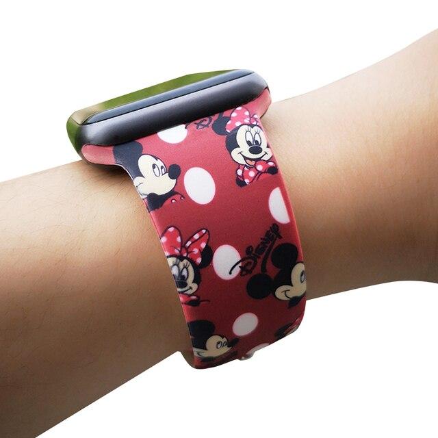 Мультяшный Микки Мягкая силиконовая лента для Apple Watch 38 мм 40 мм 42 мм 44 мм для женщин и мужчин спортивная Замена для мужчин t Band для Apple Watch 4 3 2 1