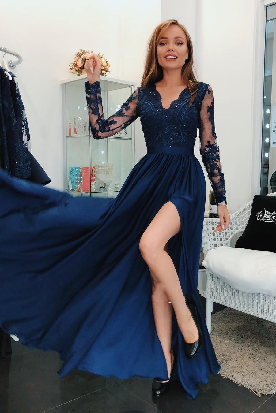 Sexy High Slit   Prom     Dresses   2019 Appliqued Long Sleeve Chiffon Evening Gowns For Women Cheap Party   Dress