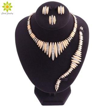 acb5391febc0 Conjunto de joyas de cuentas africanas de Color dorado accesorios de joyería  India Dubai collar pendientes pulsera conjuntos de anillos