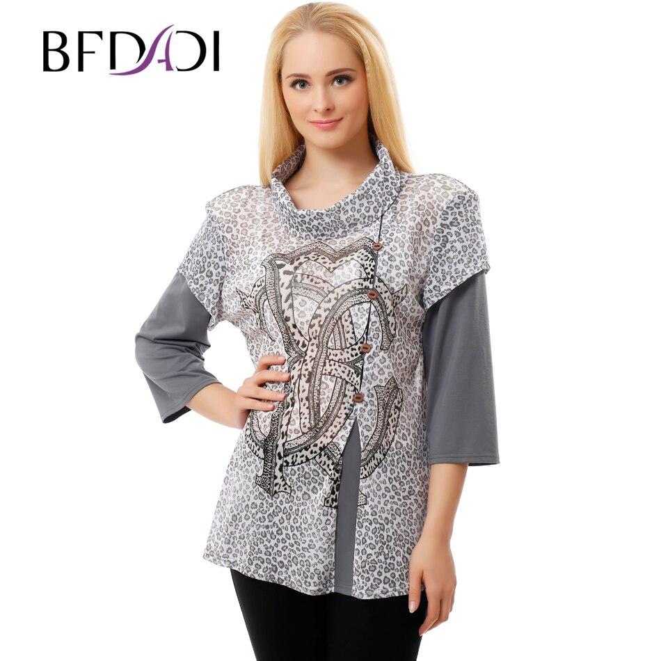 d6f437303414 BFDADI 2016 nueva moda verano otoño mujer malla camisa costura Leopardo de  cuello alto tamaño ...