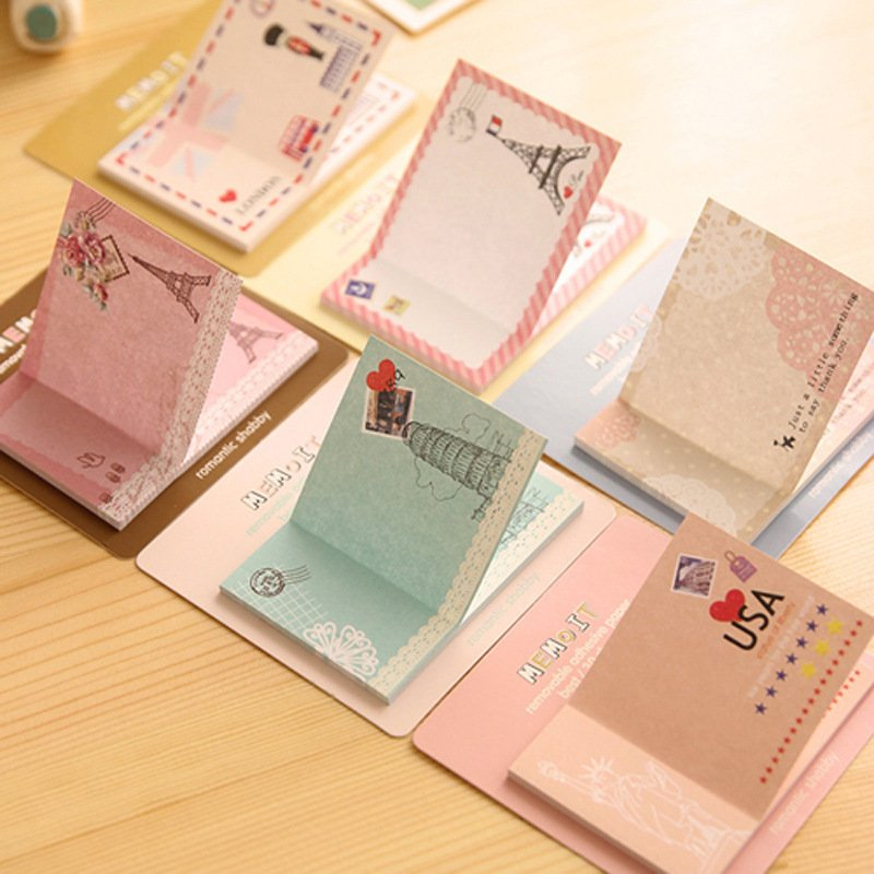 5 pcs /lot new creative lovely European and American wind memo pad sticker note posted messages