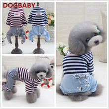 Fashion Puppy Dog Clothes Pet Dog Striped Clothing Jumpsuit Four Legs Pants Dogs Clothes T Shirts
