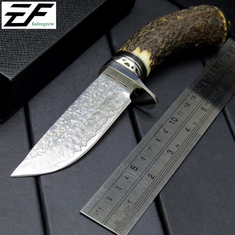все цены на Eafengrow EF96  Damascus steel blade fixed Knives antlers Handle  hunting camping Survival Knife outdoor tool knife