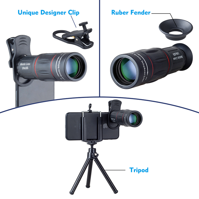 APEXEL 18X Telescope Zoom lens Monocular Mobile Phone camera Lens for iPhone Samsung Smartphones with tripod Hunting SportsT18ZJ 1