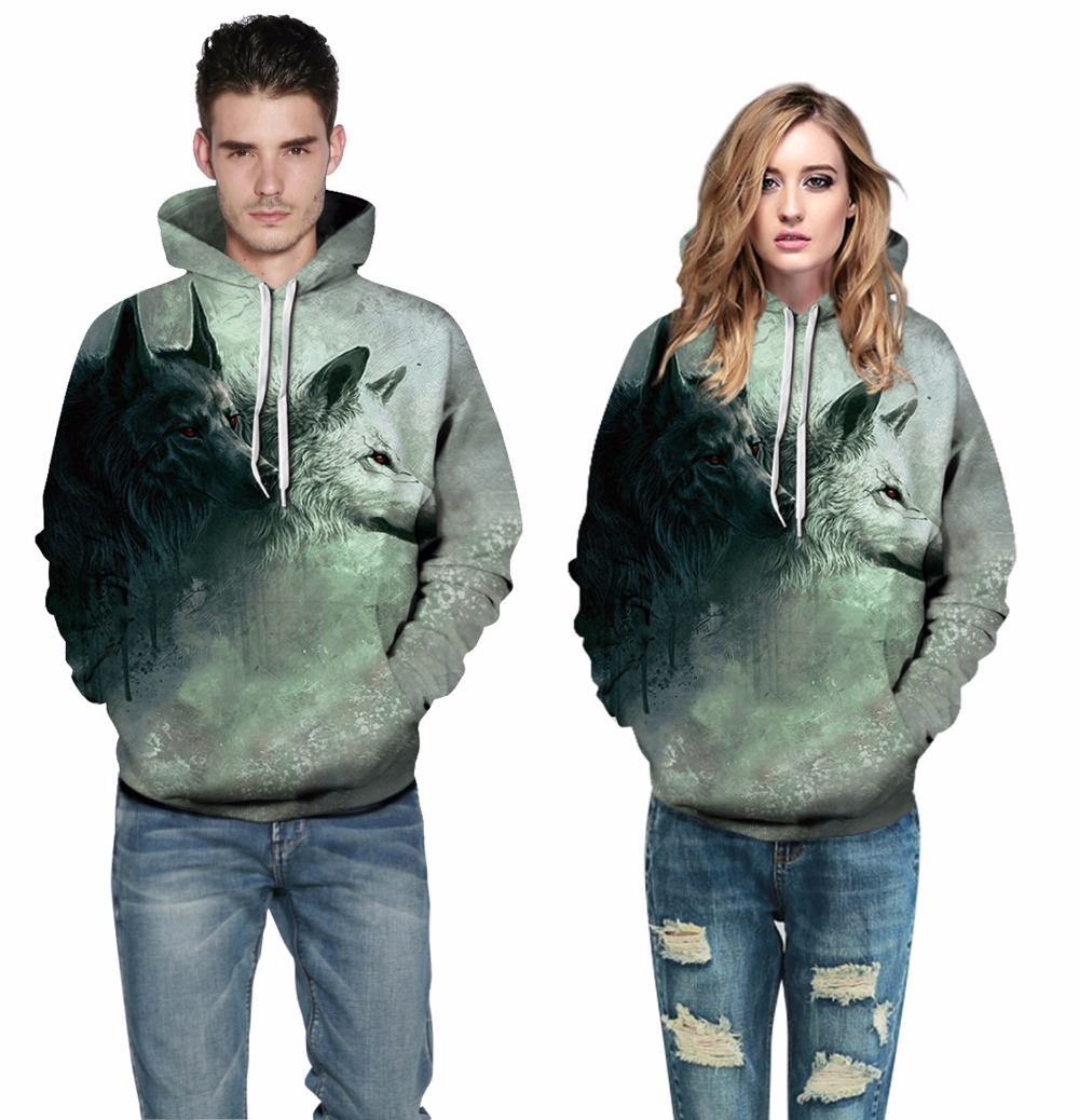 3D Animal Series Print Hooded Sweatshirts Couples Women Men Streetwear Pullovers Drawstring Tracksuit Pockets Plus Size Hoodies