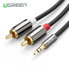 Ugreen Jack RCA Kabel 2 RCA Male To 3.5 Male Audio Cable 2 M 3 M 5 M Kabel Aux untuk Edifer Home Theater DVD VCD Iphone Headphone(China)
