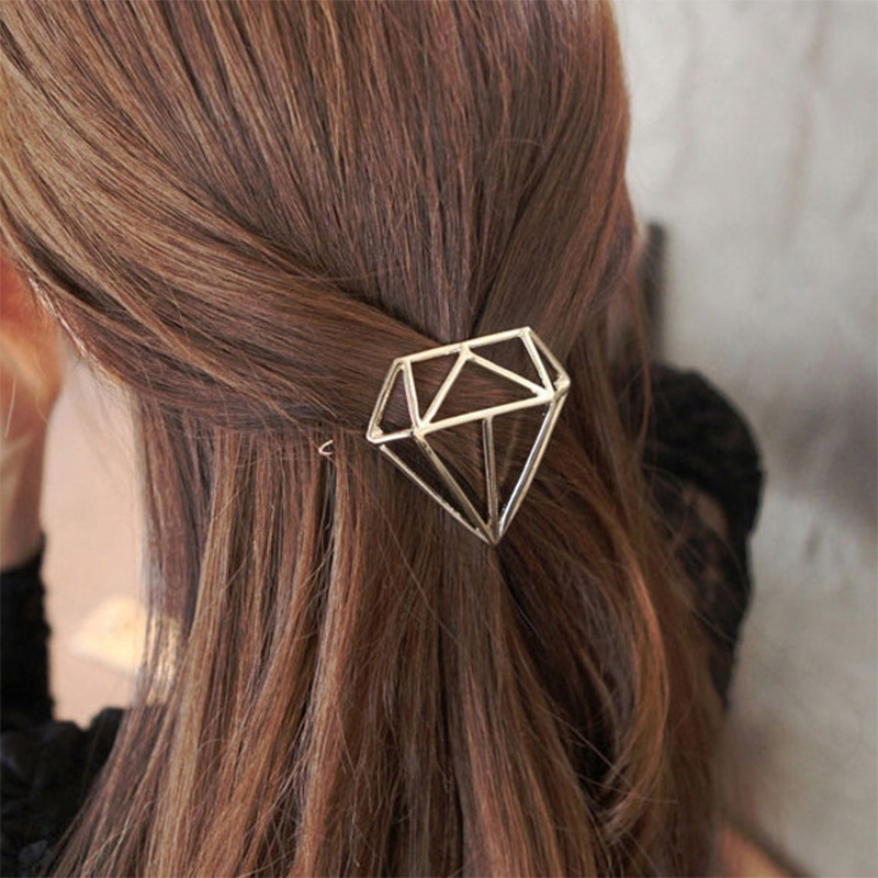 Free Shipping European fashion hairpin diamond shape Creative brief vogue frog buckle hair clips Girls Hair