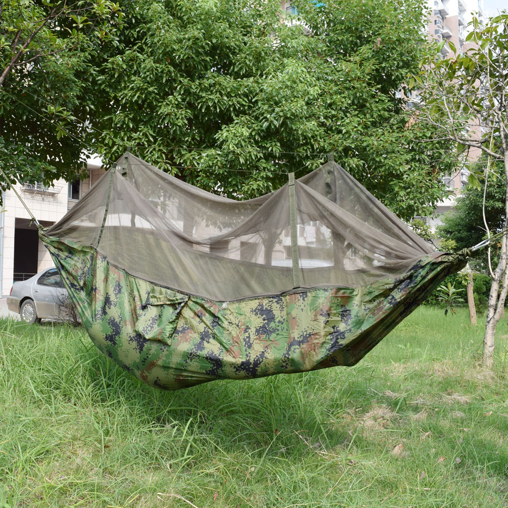 250*140CM Camouflage Ultralight Outdoor Camping Hunting Mosquito Net Parachute Hammock 1 Person Garden Hamac ultralight outdoor camping mosquito net parachute hammock 2 person flyknit garden hammock hanging bed leisure hammock travel kit