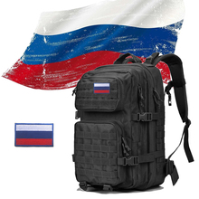 Russia Logo Military Tactical Backpack 50L Men Outdoor Army Molle 1000D Waterproof Bag For Hiking Camping Hunting Mountaineering
